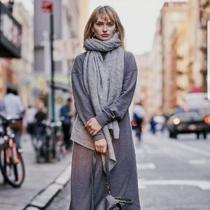 "Free People Kennedy oversized scarf 36""x84"" grey"
